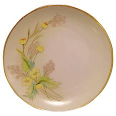 "Beautiful Pickard / Rosenthal Bavarian Porcelain Cabinet Plate ~ Hand Painted with Yellow Buttercup ~ Artist ""Anton Beutlich"" Signed ~ 1905-1910"