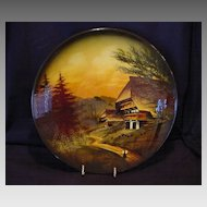 "Extraordinary 12"" German Black Forest Majolica hand painted Charger / Wall Plaque ~ Mountain Chalet Scene ~ CICO Germany /  or Schramberger 1900's"