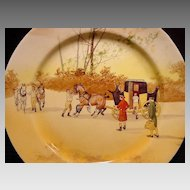 """ Hard to Find""  Royal Doulton's Coaching Days Series Plate~  D2716 Scene #13~ ""Harnessing Horses"" ~ Royal Doulton England 1906"