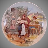 "Wonderful 11"" French Tavern Scene Plate / Wall Plaque by Louis Mimard ~  H Boulenger & CO France 1900+"