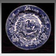 "Gorgeous English ~ Blue & White Scenic Earthenware Plate~ ""Landscape"" Pattern ~ Wedgwood England 1891-1902"