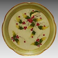 """Wonderful Bavarian Porcelain Cabinet Plate~ Pickard Studio Decorated ~ Hand Painted with Holly by """"Beutlich"""" – Jaeger & Co Bavaria 1903-1905"""