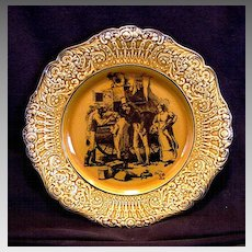 """Attractive English Cabinet Plate ~ Coaching Days with Raised Relief Edge """"Filling the Boot""""   - WILLIAM RIDGWAY, SON & Co. (Staffordshire, UK) - ca 1875-1910"""