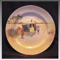 """"""" Hard to Find""""  Royal Doulton's Coaching Days Series Plate~  D2716 Scene #4~ """"""""Innkeeper Talking to Drivers, Attendants Boarding.""""  ~ Royal Doulton England 1906"""