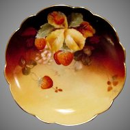 "Incredible Limoges Plate 6"" Hand Painted with Ripe Strawberries by ""Charles Hahn"" ~ Limoges France 1891 Pickard Studios 1903-1905"