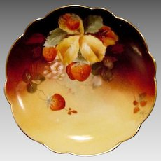 """Incredible Limoges Plate Hand Painted with Ripe Strawberries by Pickard Studio Artist """"Charles Hahn"""" ~ Limoges France 1891 Pickard Studios 1903-1905"""