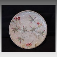 Gorgeous Majolica Plate with Bamboo and Flowers