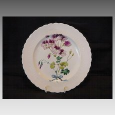 Beautiful 128 Year Old English Cabinet Plate Burgundy and Pink Flowers ~ Minton England 1881-1882