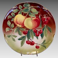 """Wonderful  Majolica 12 ¼"""" Charger with Apples and Cherries ~ KELLER & GUERIN - ca. 1890s - 1930s"""