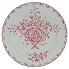 "Stunning Old Red Aesthetic Transferware Plate with Water Wheel Scene ~ ""Alaska"" pattern ~ Whittaker & Co. W & Co., Hanley, Staffordshire 1882-1886"