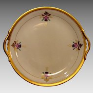 Beautiful Porcelain Cake Plate or Tray ~ Hand Painted by Pickard Studio's ~ Pink & Purple Fuchsia ~ Art Nouveau ~1925-1938