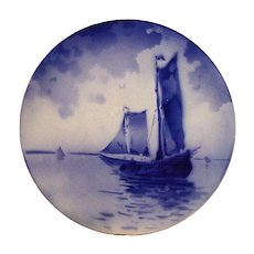 Unique French Faience Cabinet Plate ~ Ships on Water ~ Keller & Guerin ~ Luneville France 1890-1914