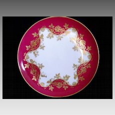Wonderful Limoges Porcelain Cabinet Plate ~ Factory Decorated with Golden Roses ~ Haviland France 1893-1930