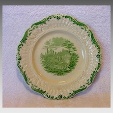 """Exquisite English Ridgways Plate with Green Transfer ~ """"Tyrolean"""" Pattern ~ William Ridgway and Son 1838-1848"""