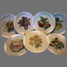 7 Limoges Plates ~ Basketweave Embossed painted by artist Pallandre. Fruit Motifs ~ Haviland Factory Decorated ~ Haviland & Co 1876-1882.