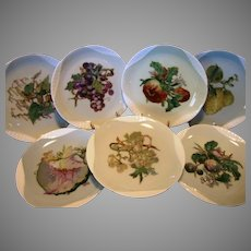7 Limoges Plates ~ Basketweave Embossed painted by artist Pallandre. Fruit Motifs ~ Haviland Factory Decorated ~ Haviland & Co 1876-1882.