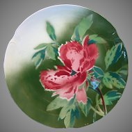 """Colorful French Faience Cabinet Plate 10 1/2""""  ~  Red Poppies ~ Gien France 1920's"""