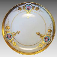 """Wonderful Porcelain 6 ½"""" Plate ~ Decorated by Pickard Studio ~ Hand Painted ~Art Nouveau ~ Pink & Red Roses – Nippon / Pickard Studio Chicago IL1912-1918"""