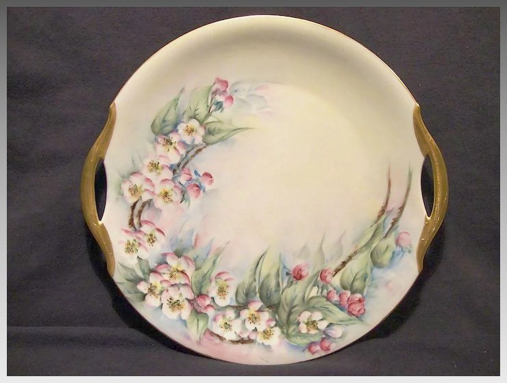 Gorgeous Bavarian Porcelain Cake Plate ~ Hand Painted with Pink Apple Blossoms ~ Bavaria 1920\u0027s & Gorgeous Bavarian Porcelain Cake Plate ~ Hand Painted with Pink ...