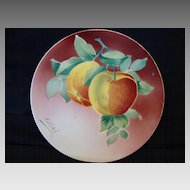 Wonderful  French Faience , Tin Glazed 8 ½' Cabinet Plate  with Apples ~ KELLER & GUERIN - ca. 1890s - 1930s