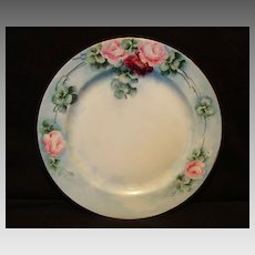 Gorgeous Limoges Porcelain Cabinet Plate ~ Hand Painted with Pink & Red Roses ~ Haviland France 1894-1931