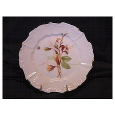 Wonderful Limoges Porcelain Cabinet Plate ~ Hand Panted with Yellow Rose Buds & Bee ~  Artist Signed ~ Bawo & Dotter Elite Limoges France 1891-1900