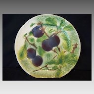 Nice French Majolica Faience Plate with Purple Plums~ St Clements, France mid 1900's