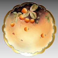 "Outstanding Porcelain Limoges Cabinet Plate Decorated by Pickard Studio Artist ""C Hahn"" with Strawberries ~ Limoges France / Pickard Studios Chicago IL 1898-1903"