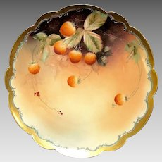 """Outstanding Porcelain Limoges Cabinet Plate Decorated by Pickard Studio Artist """"C Hahn"""" with Strawberries ~ Limoges France / Pickard Studios Chicago IL 1898-1903"""