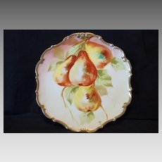 """Wonderful Limoges Porcelain Cabinet Plate ~ Hand Painted with Golden Ripe Pears ~ Gold Rococo Rim~ Artist """"MAX"""" Signed ~ Limoges France / Flambeau China 1890 - 1900"""