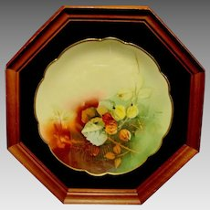 """Amazing Bavarian Porcelain Plate in 8 sided 13"""" Shadowbox ~Hand Painted with the Autumn Currants Pattern ~ Pickard Studios Chicago IL / Rosenthal Bavaria 1898-1905"""