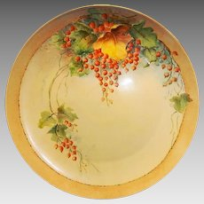 """Awesome Bavarian Porcelain Charger 12 5/8"""" ~ Hand Painted with Currants ~ F Thomas Porcelain Bavaria 1908+"""