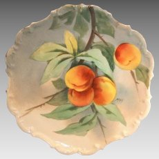 """Limoges Porcelain Charger / Plaque ~ Hand Painted with Delicious Looking Ripe Peaches ~ Artist """" Max """" Signed ~ Flambeau China 1890's-1914"""