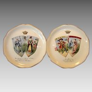 Two Wonderful French China Portrait Plates ~ Monsieur De Malbrough & Don Quichette ~ HAUTIN & BOULANGER - H.B. & Cie Choisy le Roi 1890+