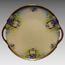 """Amazing 11"""" Limoges Porcelain Cake Plate ~ Hand Painted with Purple Violets ~ Limoges France / Stouffer Studio 1906-1913"""