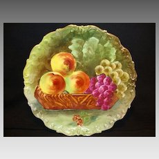 """Remarkable Limoges Porcelain 10 ¾"""" Charger ~ Hand Painted with Fruit in Basket ~ Artist Signed ~ Limoges France / Flambeau China  1890-1914"""