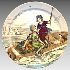 Awesome French Faience Plate with 2 Bathing Beauties ~ Rest of The Sea Baths ~ Creil Montereau France 1884-1920