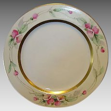 "Beautiful Limoges Porcelain Plate ~ Hand Painted with Pink Flowers by Pickard Artist ""Challinor"" ~ Haviland France / Pickard Studios Chicago IL 1905-1910"