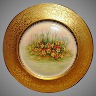 PICKARD Bavarian Porcelain 10 7/8'' Gold Embossed Cabinet Plate with Nasturtium Floral Design ~ PICKARD  Heinrich & Co Selb BAVARIA ca. 1920's