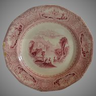 Fantastic English Ironstone Cabinet Plate ~ Columbia Pattern ~ Pink / Red Transfer ~ John Wedge Wood ~ Tunstall Staffordshire England 8/23/1848