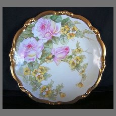 """Awesome 12 ½"""" Limoges Porcelain Charger ~ Hand Painted with White with Pink Roses and Yellow Flowers ~ Factory Decorated ~ Artist Signed ~ Bawo Dotter / Elite 1896-1914"""