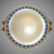 """Beautiful Bavarian Art Nouveau  12"""" Cake Plate /Tray Hand Painted with Enamel Design –Signed -  L. Hutschenreuther  1856-1920"""