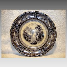 "Beautiful 160 YR Old Black Mulberry English Transferware Plate 10 5/8"" ~SUSA Pattern ~Charles Meigh, Sun & Pankhurst Hanley Staffordshire England 1850-51"