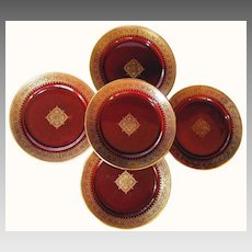"""Set of (5) Astonishing 8"""" French Faience Cabinet Plates ~ Burgundy with Gold Lace Design ~ Sarreguemines France 1889-1922"""