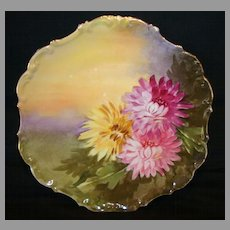 """Decorative Limoges Porcelain Cabinet Plate ~ Hand Painted with Pink & Yellow Mums by """" Leon """" ~ Flambeau China 1890-1900"""