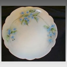 """Exceptional Bavarian Porcelain Cabinet Plate ~ Hand Painted with Blue Flowers ~ Artist """"Lebovitz"""" Signed ~ Bavaria 1910"""