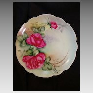 "Exceptional Bavarian Porcelain Cabinet Plate ~ Hand Painted with Red Roses ~ Artist "" Lebovitz ""Signed ~ Bavaria 1910"