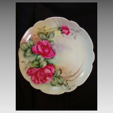 """Exceptional Bavarian Porcelain Cabinet Plate ~ Hand Painted with Red Roses ~ Artist """" Lebovitz """"Signed ~ Bavaria 1910"""
