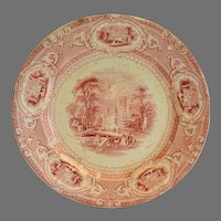 "Cabinet Plate ~ Old English Ironstone 10""  ~ Corinthia Pattern ~ Pink / Red Transfer ~ E Challinor England ~ 1842-1867"