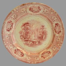 "Cabinet Plate ~ Old English Ironstone 10""  ~ Corinthia Pattern ~ Pink / Red Transfer ~ E Challinor England ~ 1842-1867"